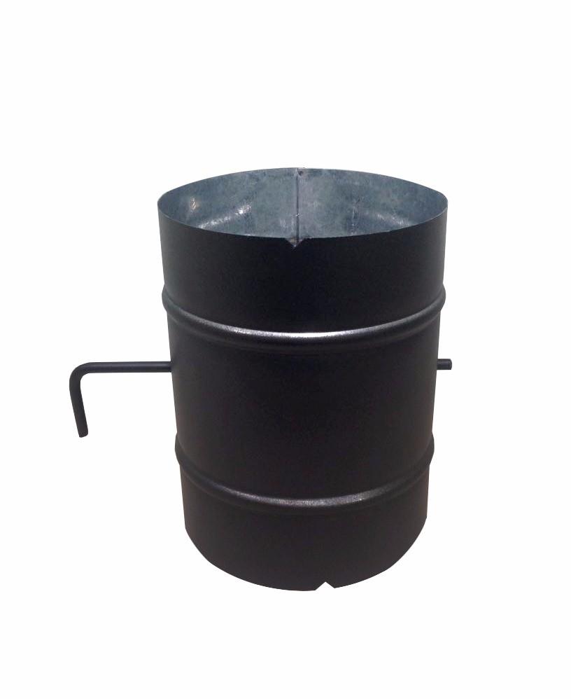 Chamine preta de 150mm com chapeu, registro e rufo de telhado  - Galvocalhas
