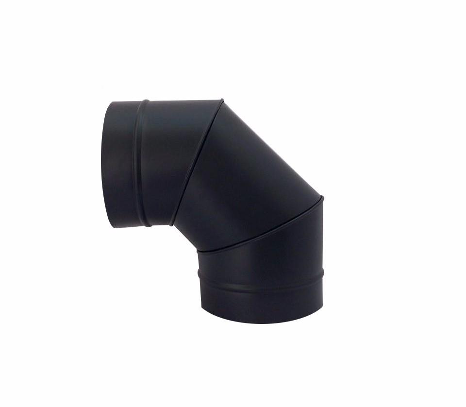 Chamine preto de 200 mm com chapeu canhao e curva de 90°  - Galvocalhas