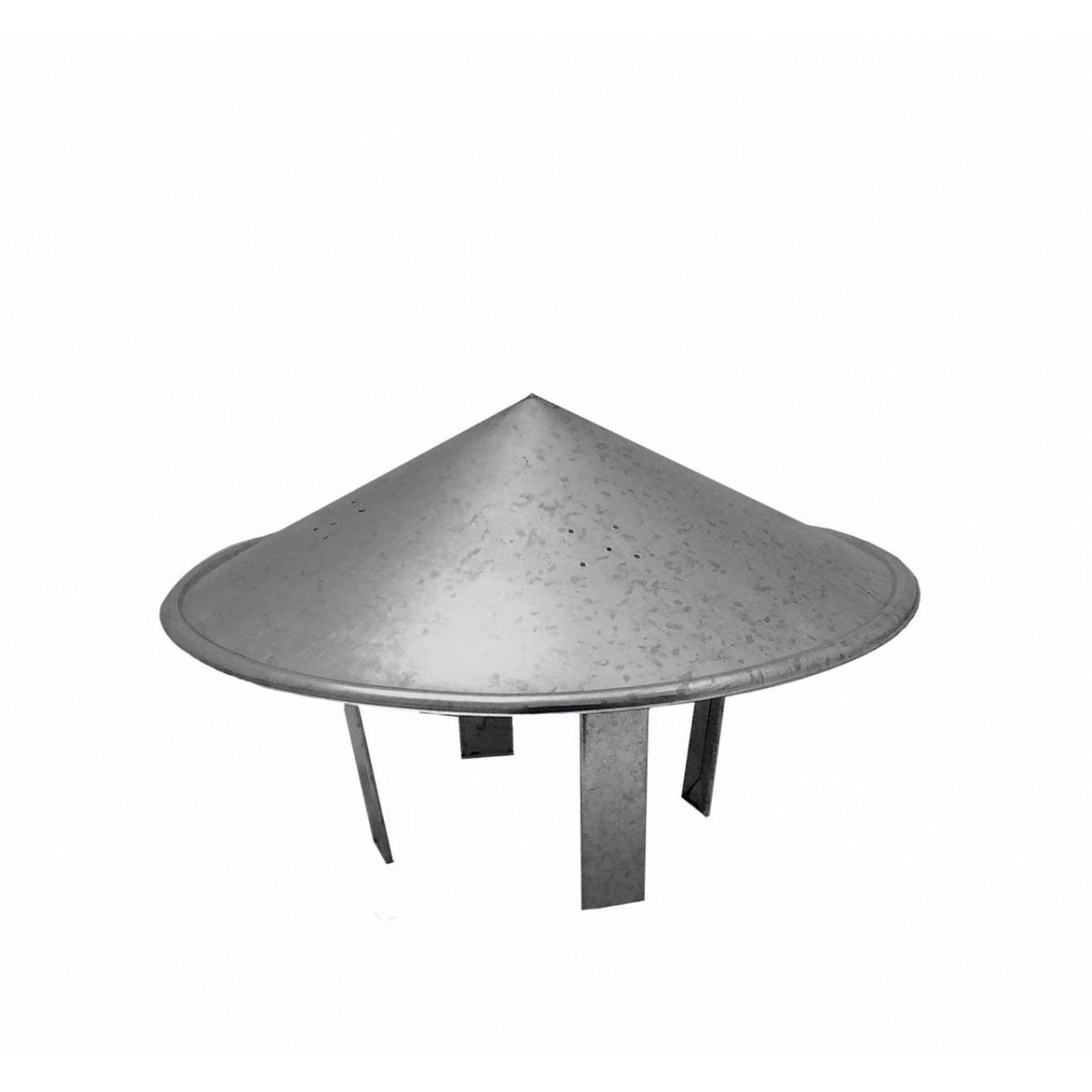 Chapéu chinês galvanizado para dutos de 130 mm de diâmetro para topo de chaminé  - Galvocalhas