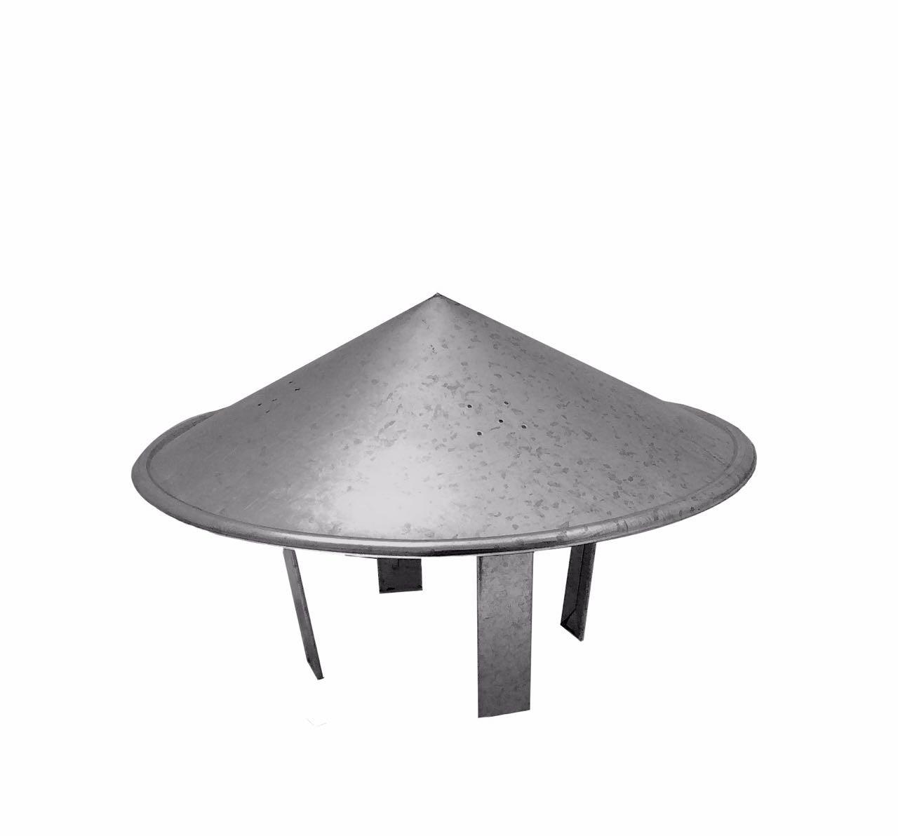 Chapéu chinês galvanizado para dutos de 250 mm de diâmetro para topo de chaminé  - Galvocalhas
