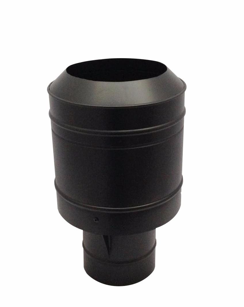 Chapéu preto tipo canhão sputinik para chaminé de 115 mm de diâmetro.  - Galvocalhas