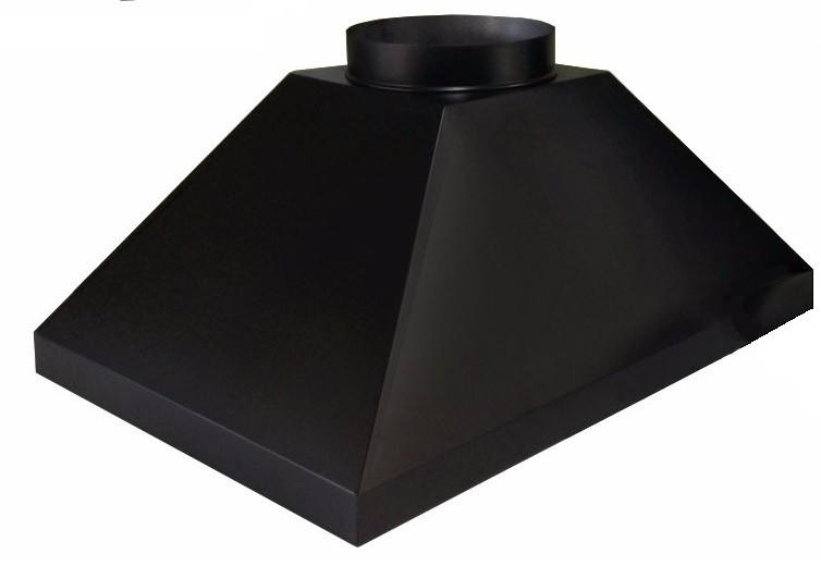 Coifa 100 x 60 com saída e dutos de 150 mm na cor preta  - Galvocalhas