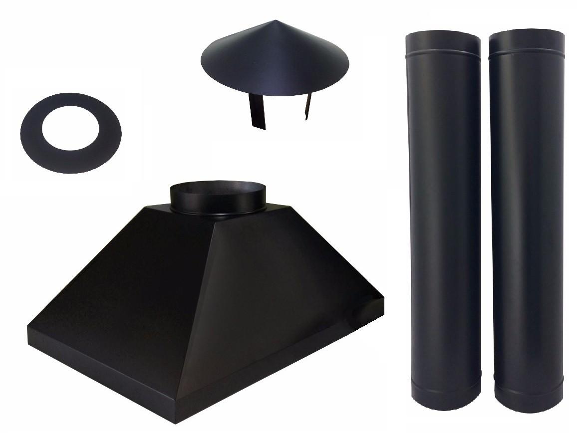 """Coifa e duto preto de 10"""" e 115mm para forno e churrasqueira  - Galvocalhas"""