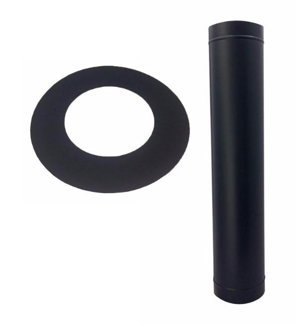Duto preto,  Damper, curva,e anel de acabamento de 150mm  - Galvocalhas