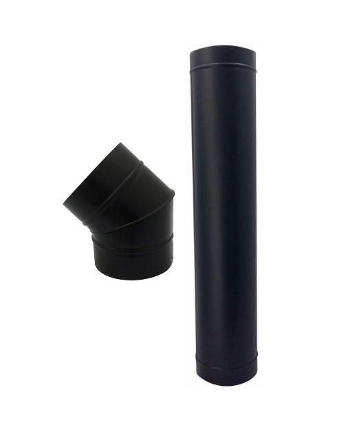 Duto preto de 180mm com curva, chapeu e anel de acabamento  - Galvocalhas