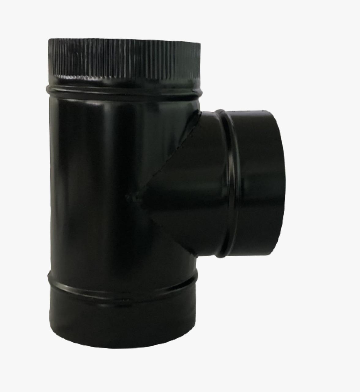 Duto, T e aneis de acabamento de 150mm preto  - Galvocalhas