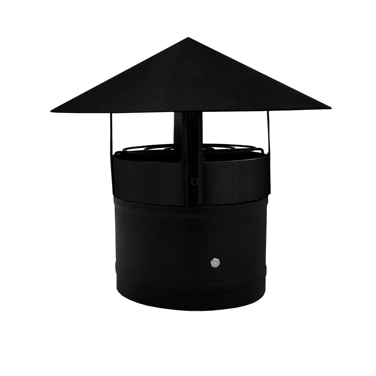 Exaustor 200 mm com chapéu chinês preto  - Galvocalhas