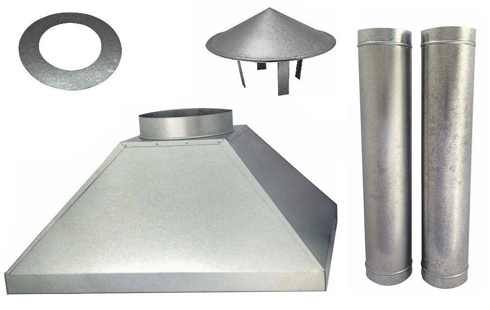 Kit Coifa De Churrasqueira 90 Cm + Chaminé Completa 2,40 M.  - Galvocalhas