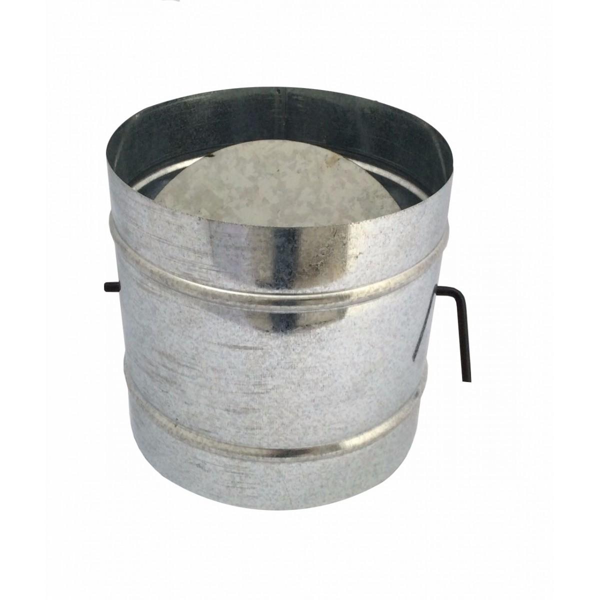 Registro / dumper galvanizado para chaminé de 130 mm de diâmetro  - Galvocalhas