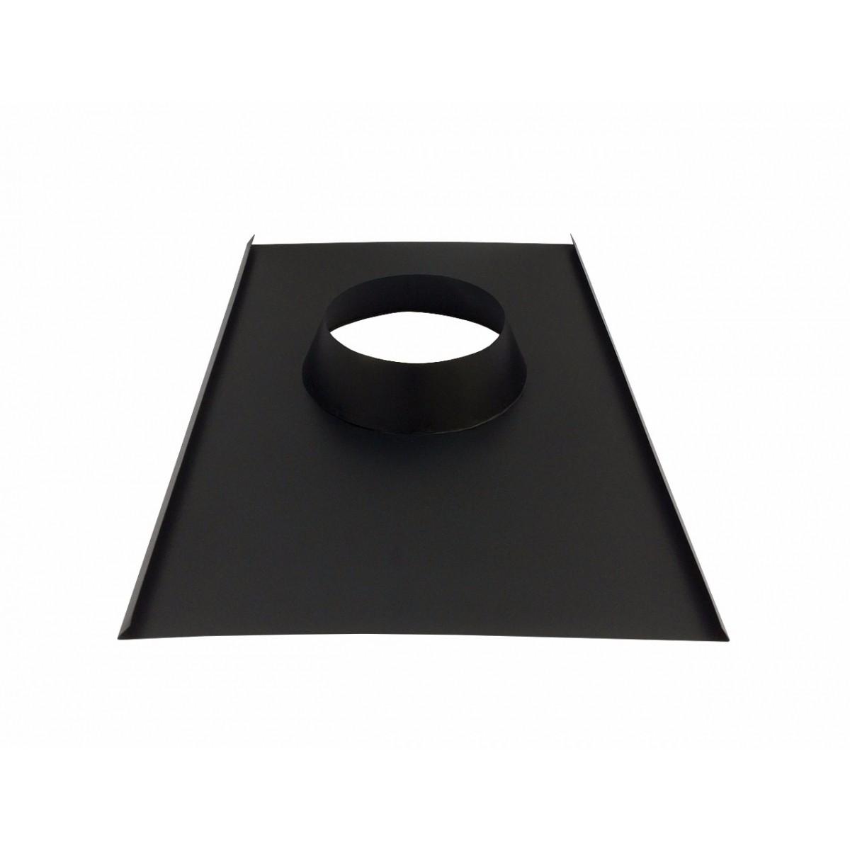 Rufo colarinho de telhado preto para chaminé de 100 mm de diâmetro  - Galvocalhas