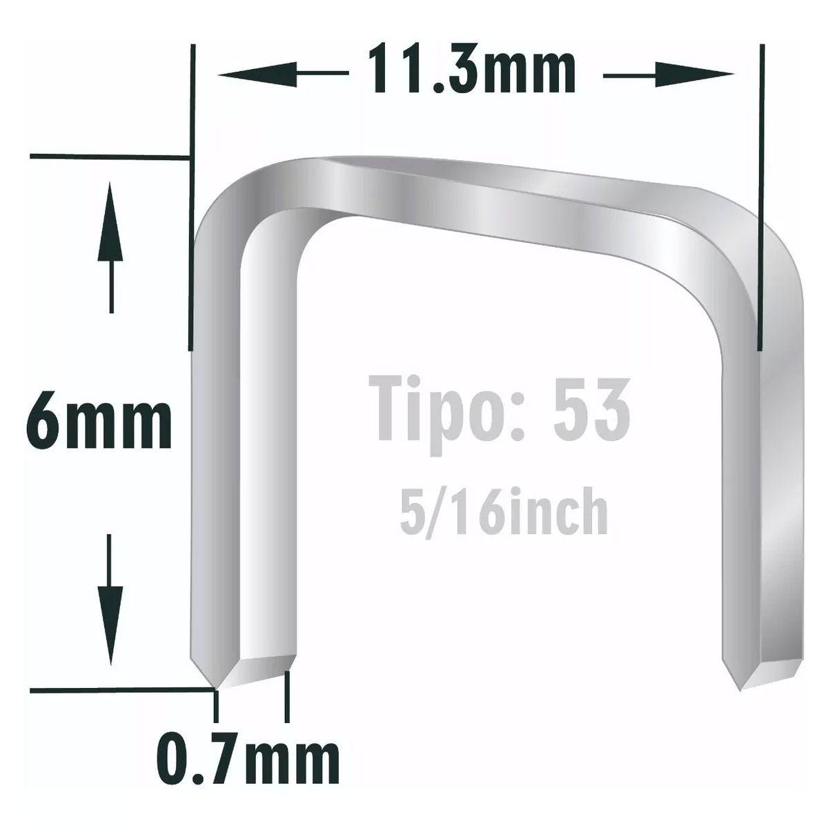 1000 Grampo Para Grampeador Manual Tapeçaria Tipo 53 - 6mm
