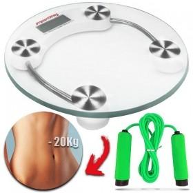 Balança Digital Fitness Banheiro Vidro Temperado -180kg + Corda