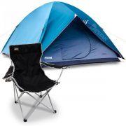 Barraca De Camping P/ até 3 Pessoas Impermeável C/ Cadeira Alvorada Preta