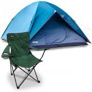 Barraca De Camping P/ até 3 Pessoas Impermeável C/ Cadeira Alvorada Verde