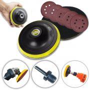 Base De Lixa Disco C/ Velcro 125 X M14 P/ Esmerilhadeira + 10 Lixas 180G