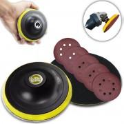 Base De Lixa Disco C/ Velcro 125 X M14 P/ Esmerilhadeira C/ 10 Lixas