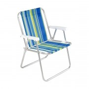 Cadeira De Praia Alumínio Dobrável Piscina Sol Pesca Mar