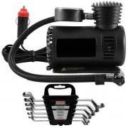 Compressor de Ar Multiuso + Chave Estrela 6mm-17mm 6 Peças