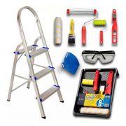 Escada 3 Degrau Doméstica Alumínio Residencialv real + Kit Pintura