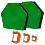 Esquadro Magnético Até 25kg 45°, 90°, 135 + 3 Grampo Tipo C