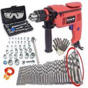 Furadeira Elétrica Impacto 500w Forte + Kit Ferramentas 80pç 220v