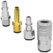 Jogo 4 Engates Rápido Stels Conectores Para Compressor e Pneumáticos