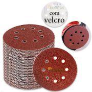 kit 10 Disco de lixa C/ Fecho De Contato diametro de 125mm grão 100#