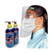 Kit 2 Álcool Em Gel 70 200ml + Mascara Hospitalar + Protetor Facial