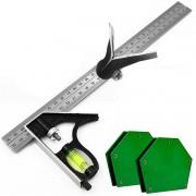 Kit 2 Esquadro Combinado 12pol E Magnético De 12kg Magnético