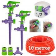Kit 2 Irrigador Aspersor Jardim C/conectores + 10m Mangueira