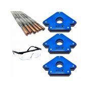 Kit 3 Esquadro Magnético Para Solda 35kg/5 Eletrodos+ Brinde