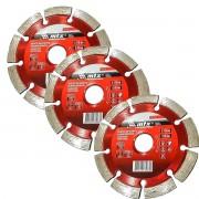 Kit 3un Disco De Corte Diamantado 115x22,2mm Segmentado Mtx