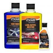 Kit 3x1 Auto Care Pretinho Líquido+Lava Auto+Silicone Gel