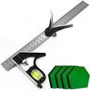 Kit 4 Esquadro Magnético  Até 12kg 45°, 90°, 135 + Esquadro Combinado