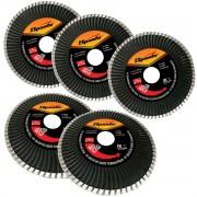 Kit 5un Disco Corte Diamantado Turbo 4,5 Polegadas 115mm x 22,2mm P/ Esmerilhadeira