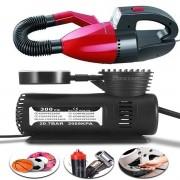 Kit Aspirador De Pó Automotivo 12V Vermelho Multilaser + Compressor