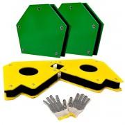 Kit Par Esquadro Magnetico 35kg/12kg /solda Titanium +brinde