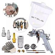 Kit Pistola Gravidade Tanque Alto 600 Ml + 3 Bicos E Engate
