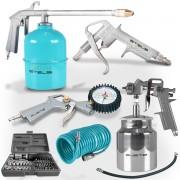 Kit Pistola Pintura Pneumático Compressor Stels + 41 Peças