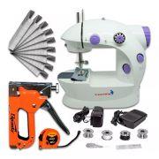 Máquina Costura Portátil Elétrica + Kit Grampeador Tapeceiro