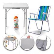 Mesa E Cadeira Dobrável Praia Camping Portátil 90x60 + Bônus
