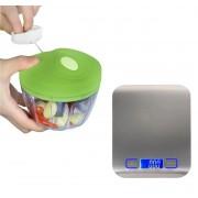 Mini Processador E Triturador De Alimentos + Balança Precisão 5kgs