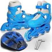 Patins Roller Ajustável Infantil Tam. 39 A 42 azul + Capacete