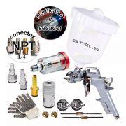 Pistola Pintura P/compressor Gravidade + Filtro Engate Ar