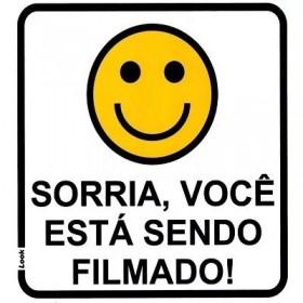 Placa Indicativa Aviso Sorria Você Está Sendo Filmado