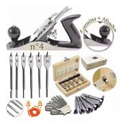 Plaina Manual De Metal Profissional 245x58 Mm + Kit Brocas