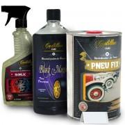 Revitalizador de Pneus Pneu Fix 1L + Black Magic E Limpa Rodas