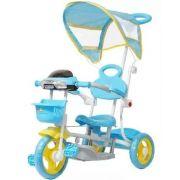 Triciclo Infantil De Passeio 3 Rodas C/ Empurrador Azul