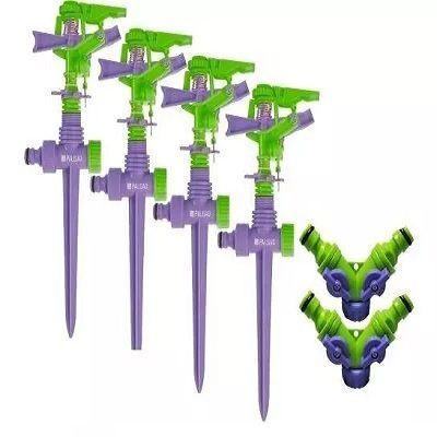 4 Irrigador Aspersor Setorial P/jardim 450m/adaptador Duplo
