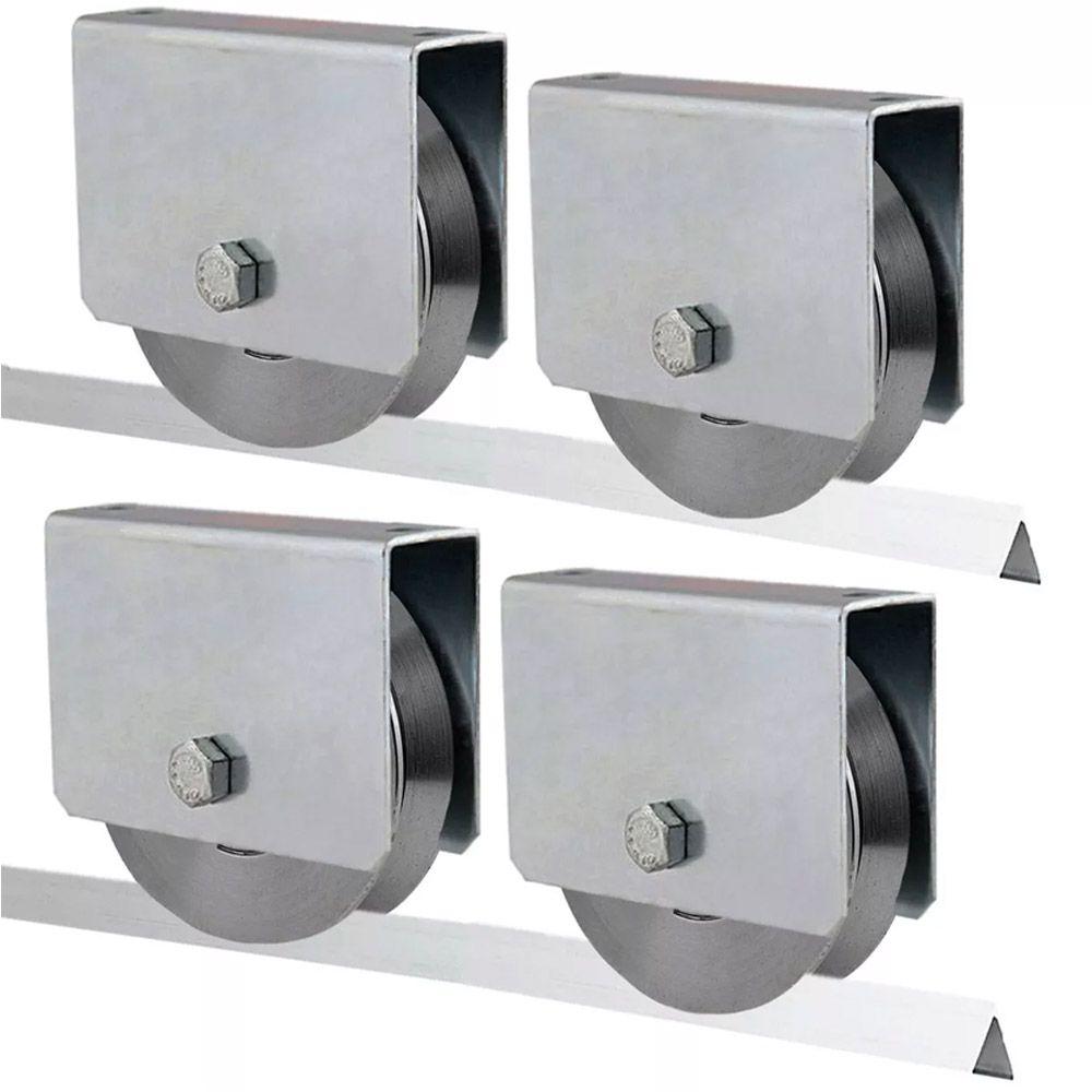 4 Roldana Aço Portão Correr 3 Polegadas C/caixa E Rolamento